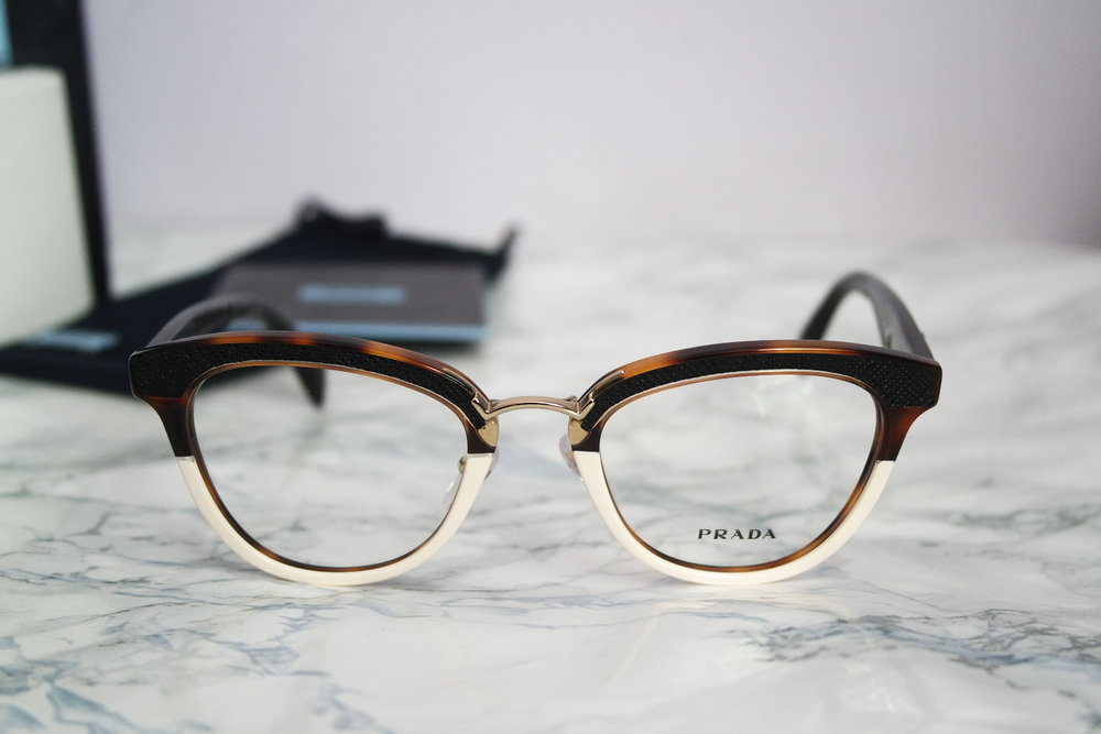 Prada Two Toned Leather Cat Eye Eyeglasses Frames — Designer Daydream