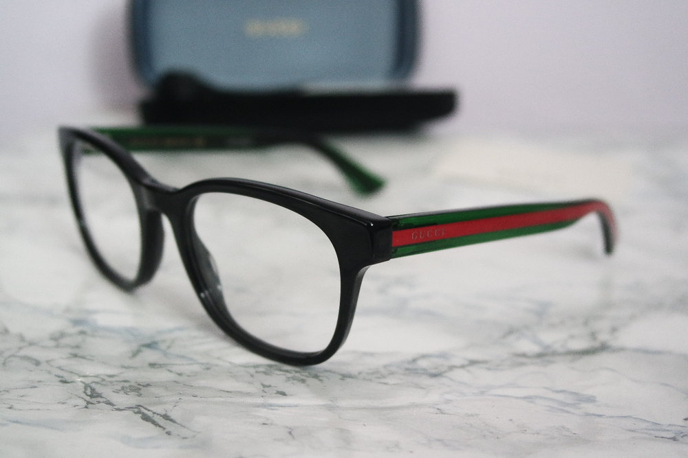 Gucci 0004O Oversized Stripe Leg Black Square Eyeglasses Frames ...
