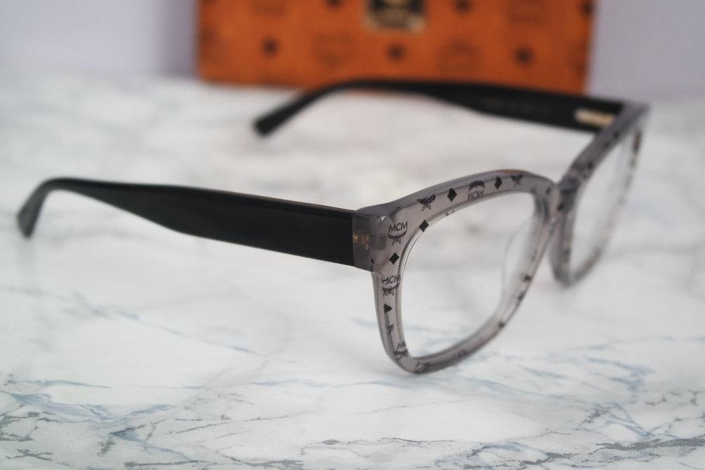 MCM Grey Square Logo Eyeglasses Frames — Designer Daydream