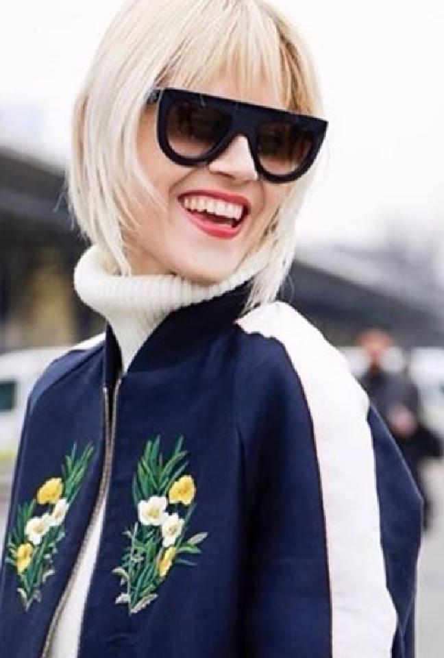 c2bbeafd78d84 Celine Andrea Oversized Flat Top Sunglasses in Navy — Designer Daydream