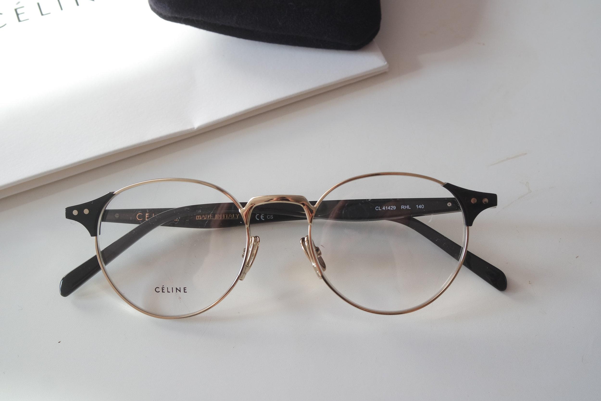 034686b3f8a7 Celine 41429 Gold Metal Round Eyeglasses Frames — Designer Daydream