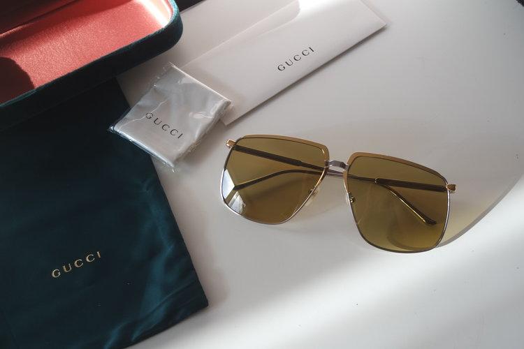 38f4ea1e07 Gucci 0365S Oversized Gold Metal Square Sunglasses (2 Colors) ...