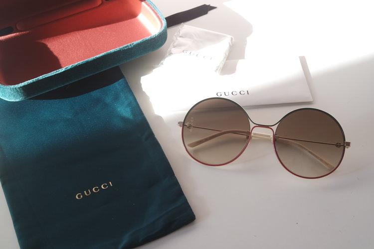 32110ee88c1e Gucci 0395S Red Green Round Metal Sunglasses ...
