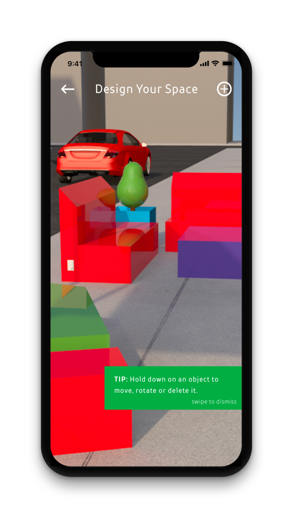 Users design their spaces in real time using augmented reality.