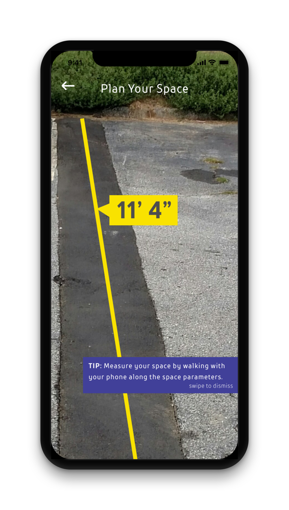 Using an AR ruler feature, users simply walk along the border of their space to measure.