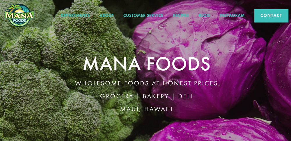 846ae1edb2 Maui Website Design   Marketing By Pueo Creations-Mana Foods Website ...