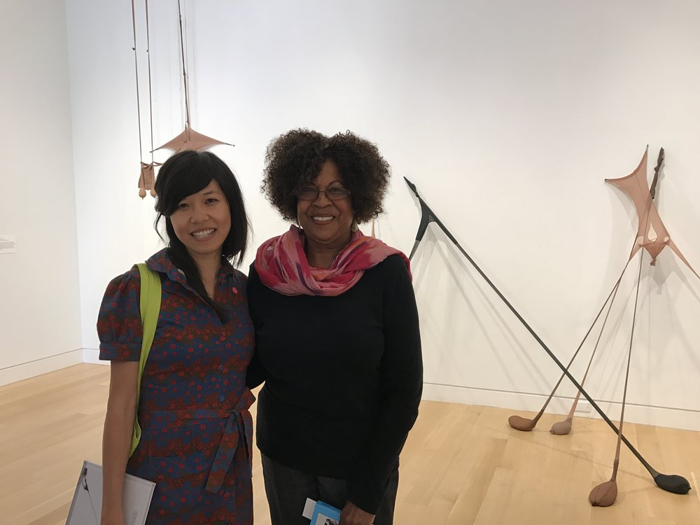 Hương Ngô with Senga Nengudi, whose work is currently on exhibit at DePaul Art Museum.