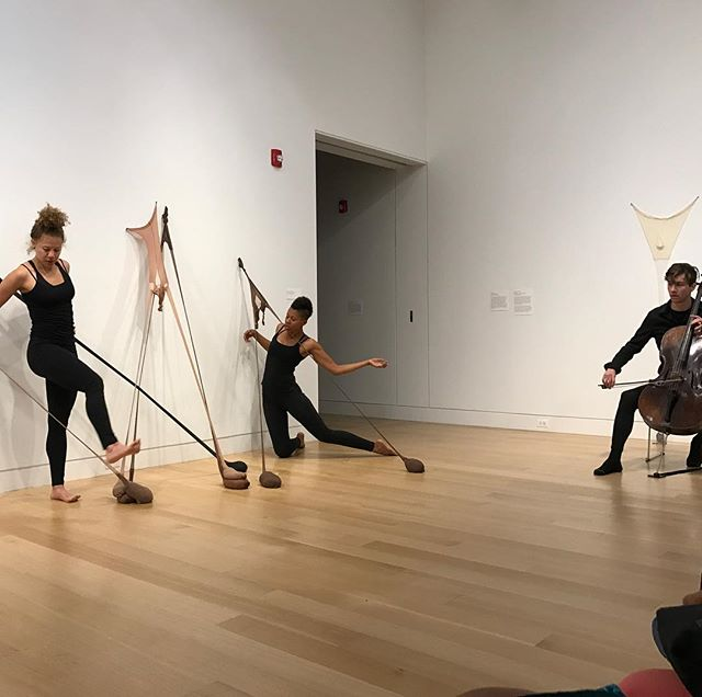 Senga Nengudi at DePaul Art Museum. Installation activated by Anna Martine Whitehead, Margaret Morris, and Alex Ellsworth.