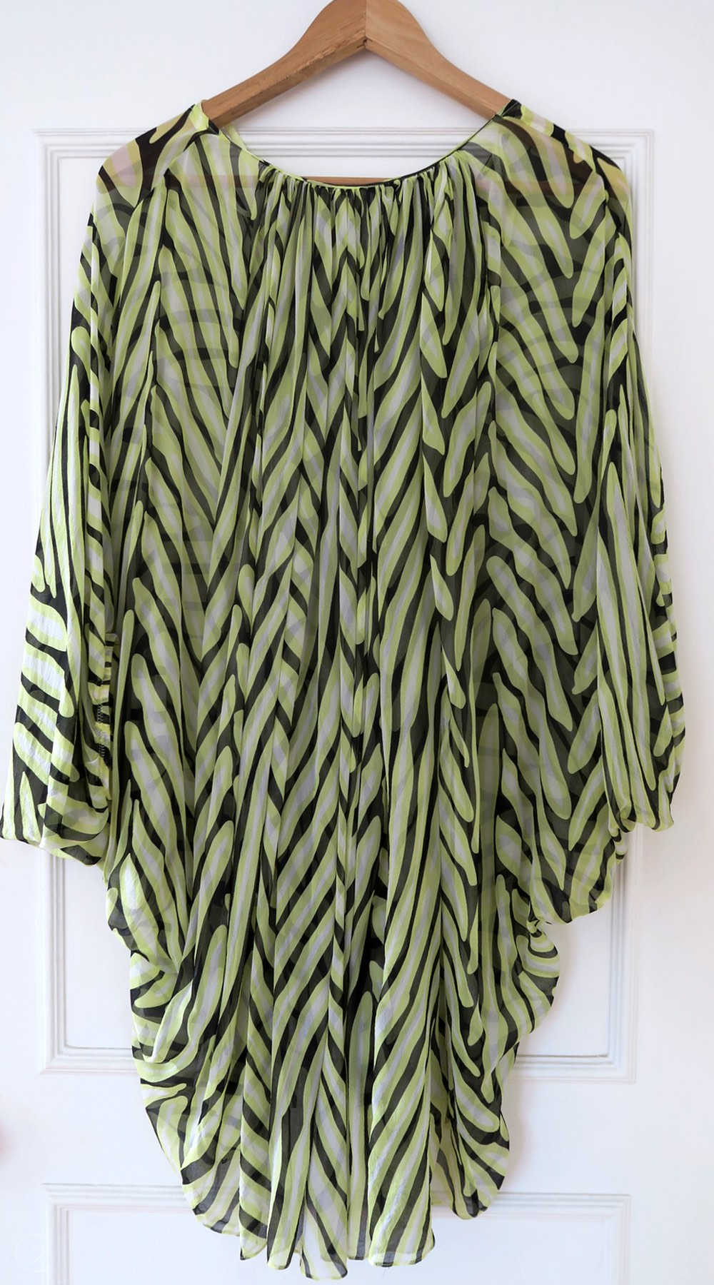 DVF Kaftan Yellow, Black and White Silk Top