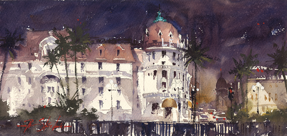Our last night in Nice, Winner: Award of merit, American Impressionist Society small works show. http://bit.ly/2nrXT7I