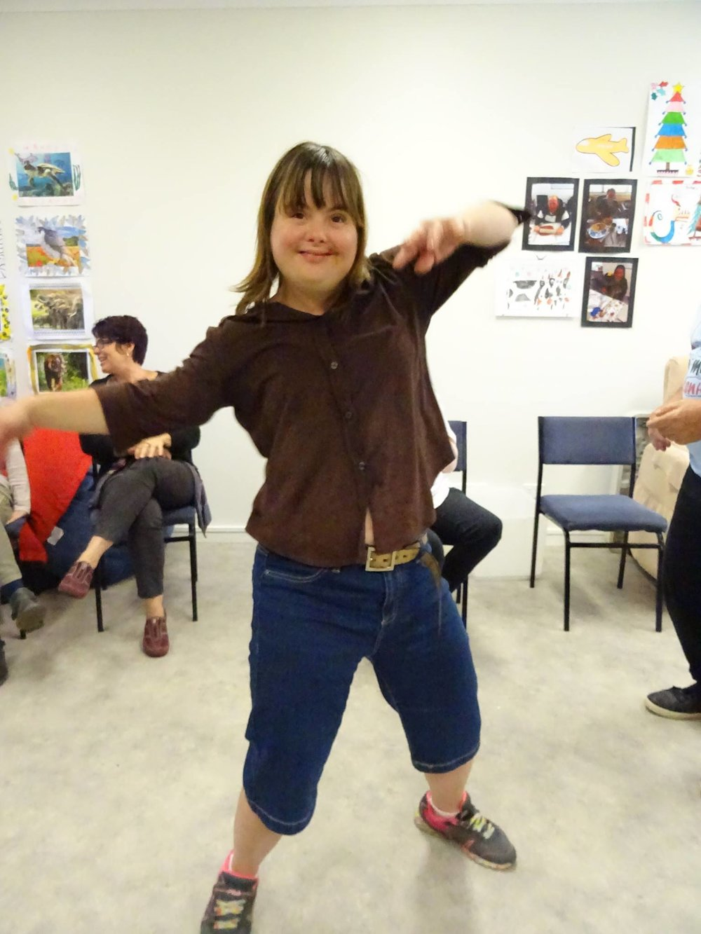 Lucy busting a move in our music program disco