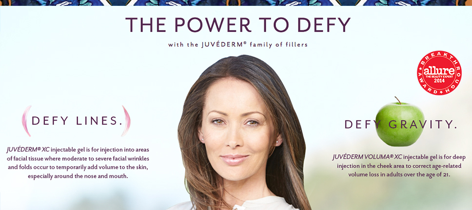 The Power to Defy with the Juvederm family of fillers.