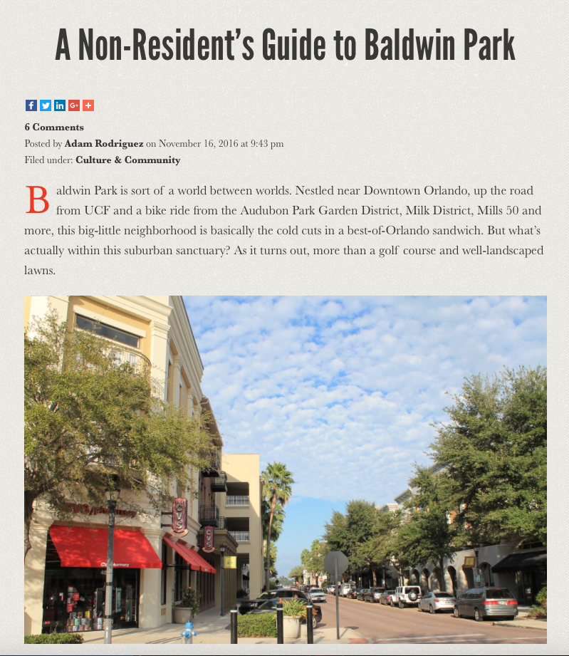 Baldwin Park is near downtown Orlando, up the road from UCF, and a bike ride from Audubon Park Garden District.