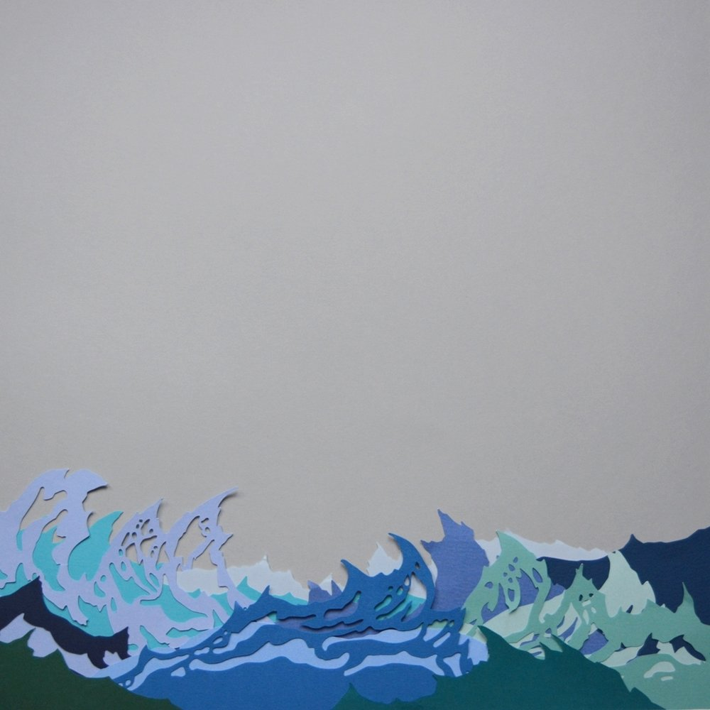 Waves at Strandhill   - 2017 - Layered Cut Paper - 50cm x 50cm