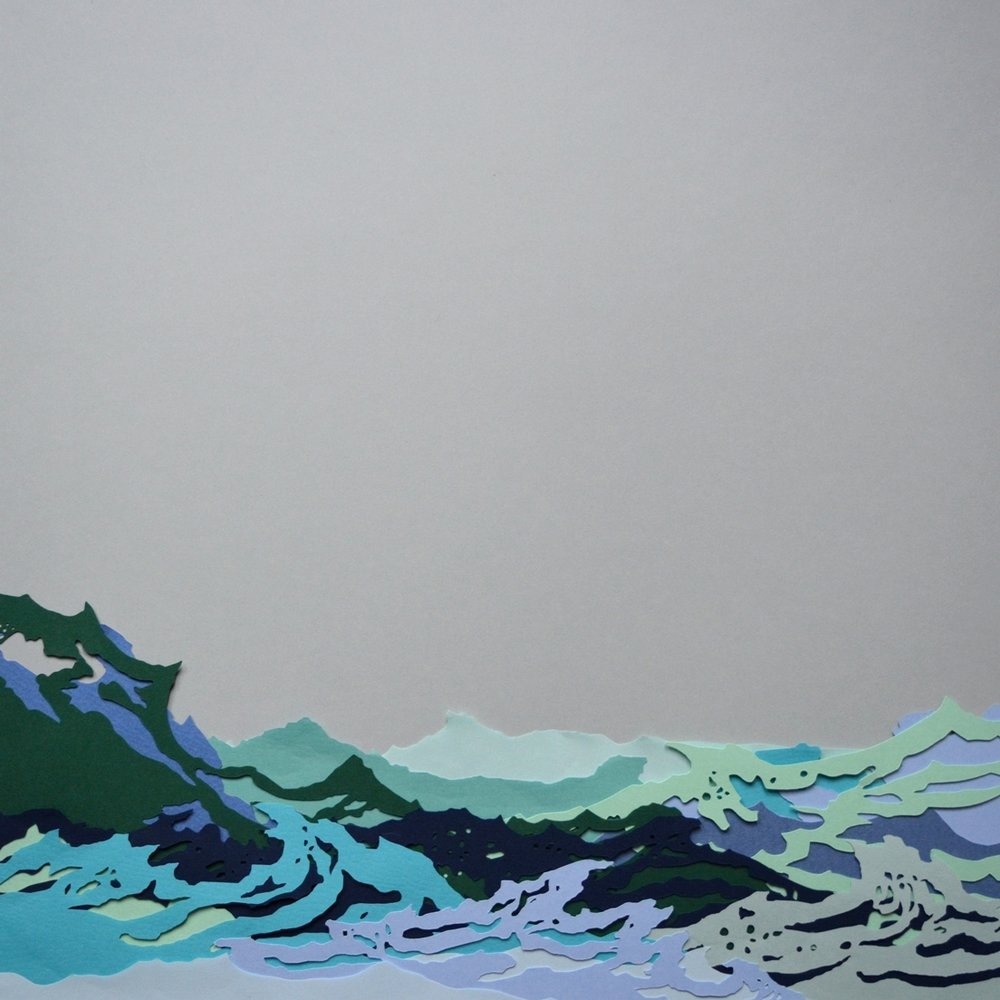 Waves at Brittas Bay   - 2017 - Layered Cut Paper - 50cm x 50cm