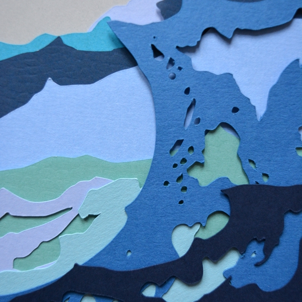 Detail from   Waves at Bunbeg   - 2017 - Layered Cut Paper - 50cm x 50cm