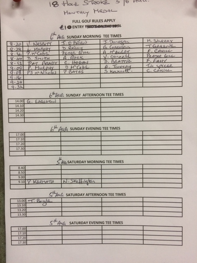 Entry sheet for Captain Sean McEvoy's prize is posted in the clubhouse , please get your names down asap.The Captain's Dinner dance will be held on 1st September , details to follow . The draw for the club matchplay competition is also posted in the clubhouse and play by dates must be strictly adhered to.