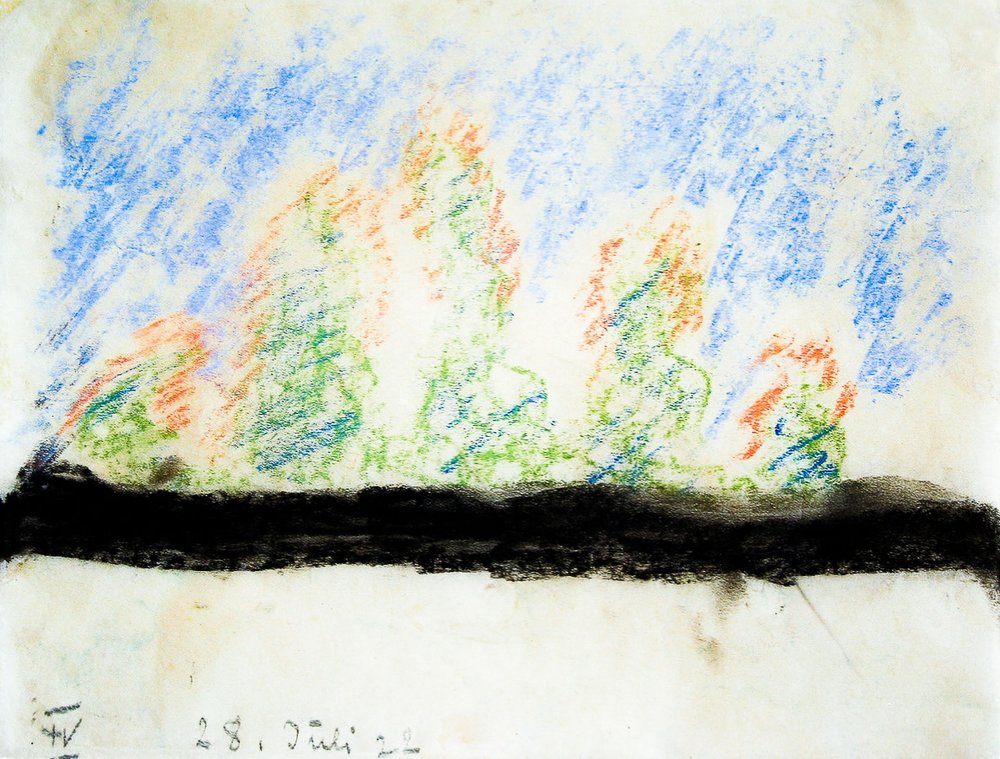 Rudolf Steiner,Skizze aus der Reihe ‹Naturstimmungen. Neun Skizzen für Maler› (1922).Kunstsammlung Goetheanum (Foto: U. Battenberg)