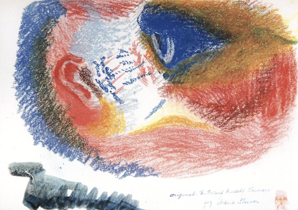 """Motiv: Skizze von Rudolf Steiner """"Es entstanden die Sinne, es werden Auge und Ohr"""""""