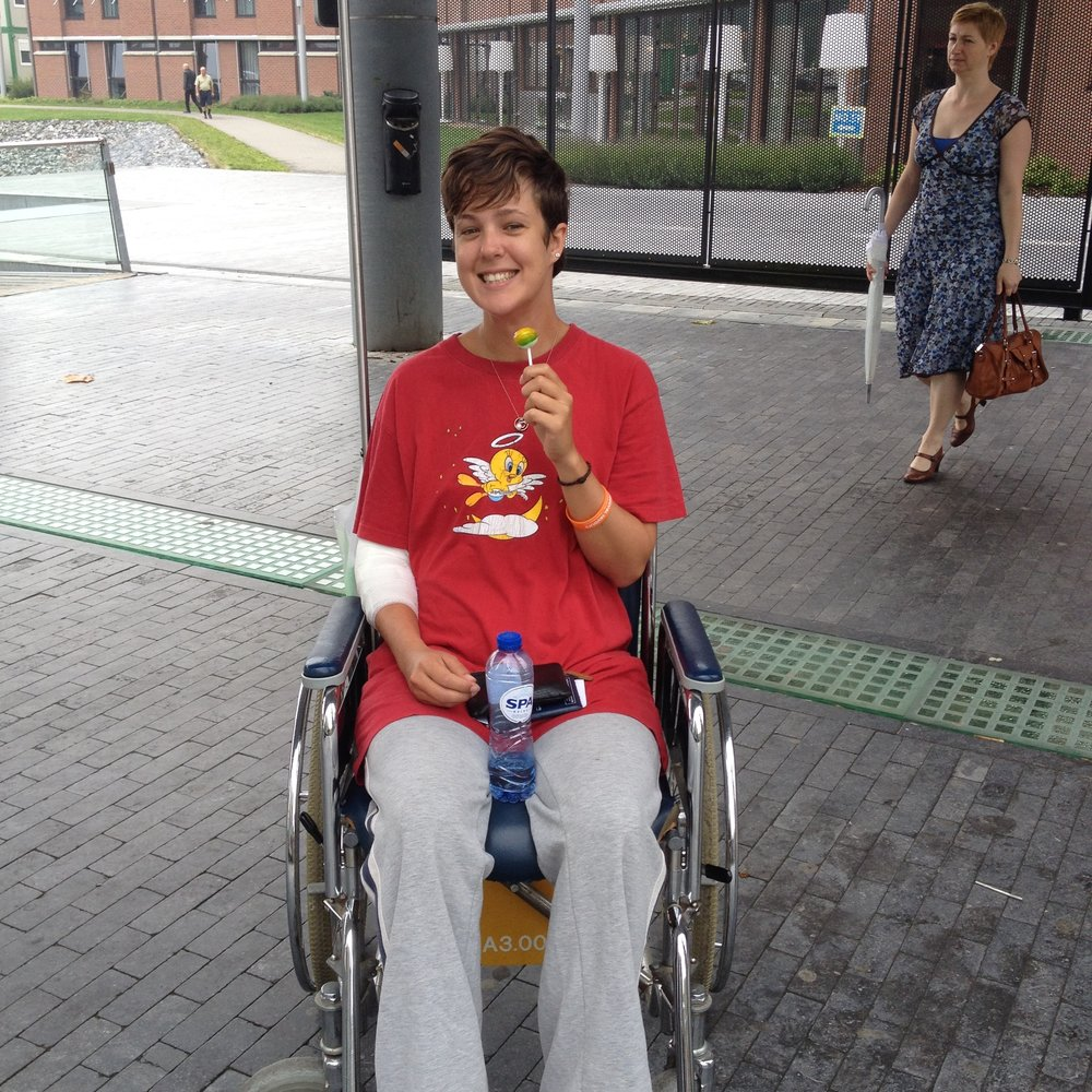 The photo was I think a follow up appointment, and I didn't need the wheelchair but it speeds up the process if you look like you do. Getting a lollipop was a clear highlight.