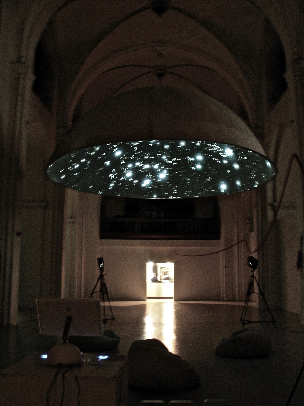 Black Shoals Stock market planetarium by Lise Autogena and Joshua Portway, at Nikolaj Copenhagen Contemporary Art Centre, Denmark, in 2004.  (Photo by Lise Autogena)