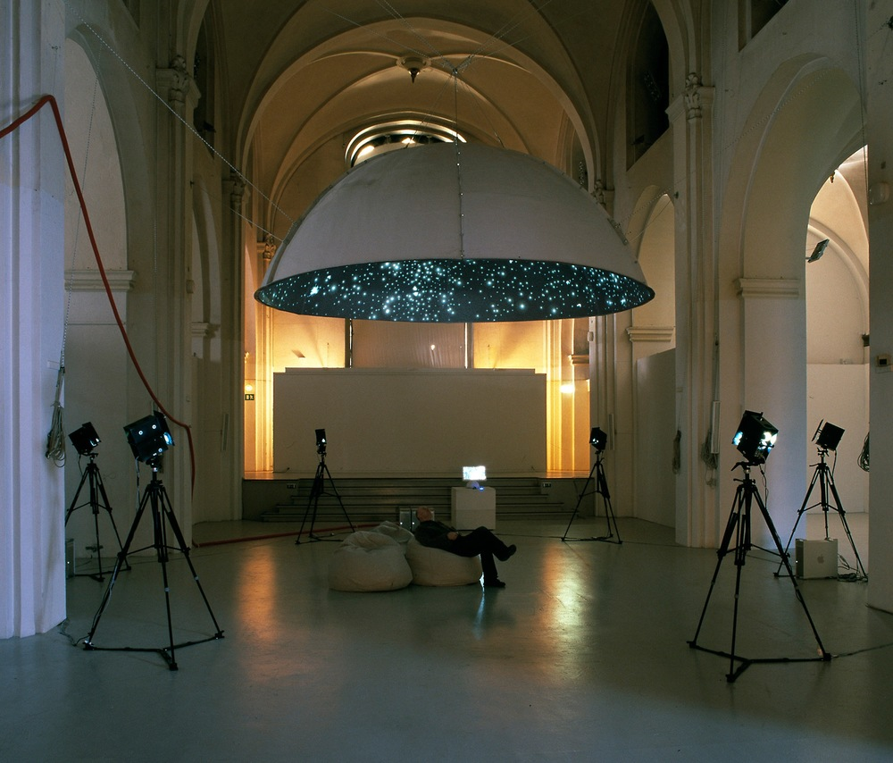 Black Shoals Stock market planetarium by Lise Autogena and Joshua Portway, at Nikolaj Copenhagen Contemporary Art Centre, Denmark, in 2004.  (Photo credit: Copenhagen Contemporary Art Centre)