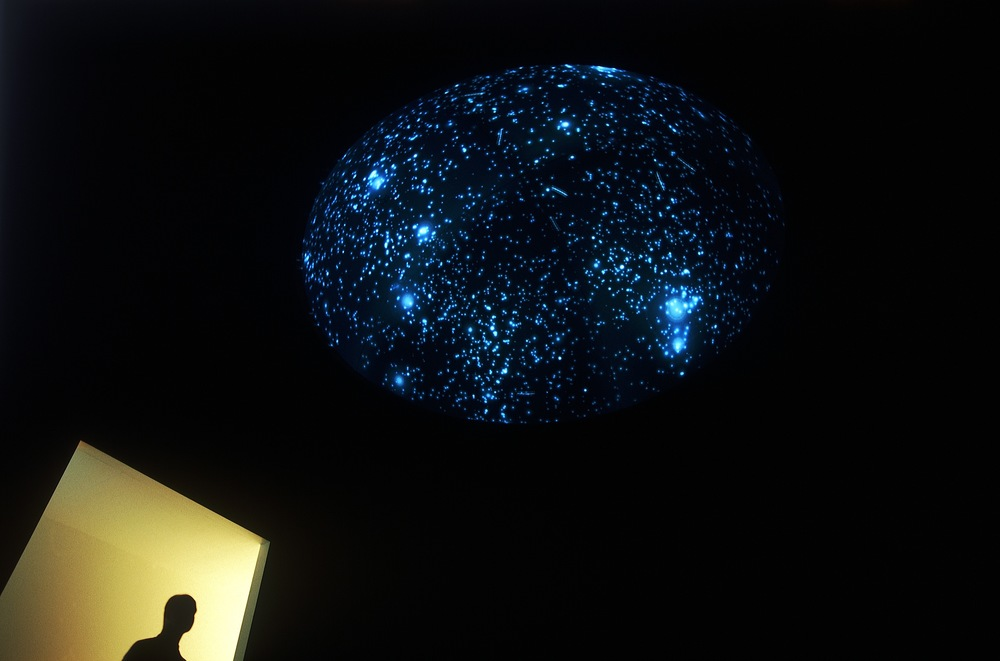 Black Shoals Stock market planetarium by Lise Autogena and Joshua Portway, at Tate Britain, Art and Money Online, London, 2001.  (Photo credit: Tate Britain)