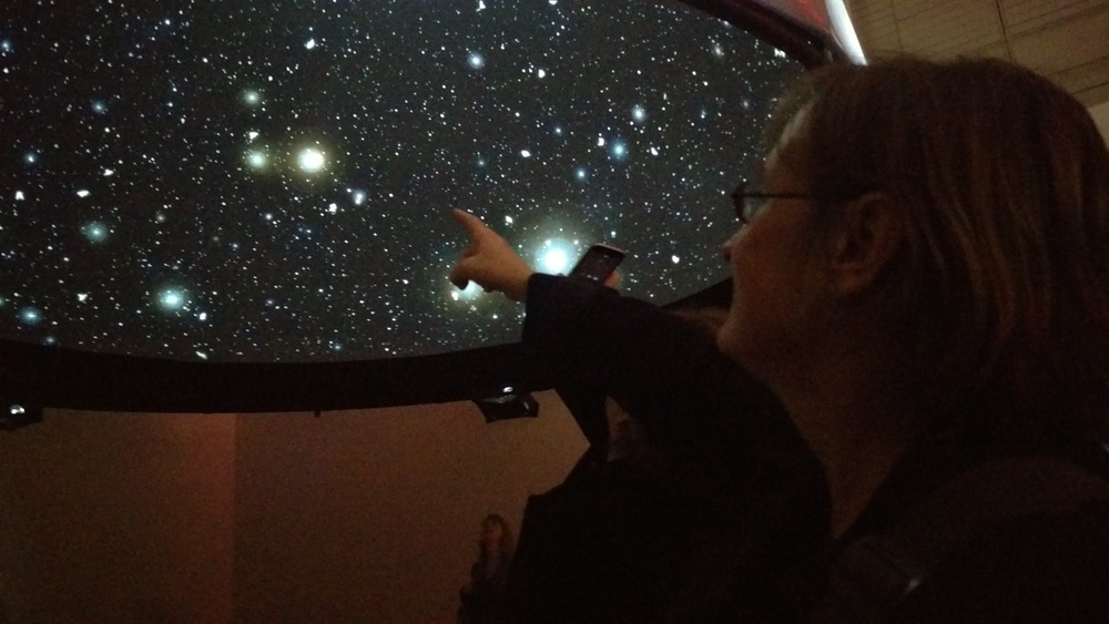 Lise Autogena underneath 'Black Shoals: Dark Matter' - a stock market planetarium created by Lise Autogena and Joshua Portway at Big Bang Data at Somerset House on December 3, 2015 in London, England.   (Photo by Gavin Starks)