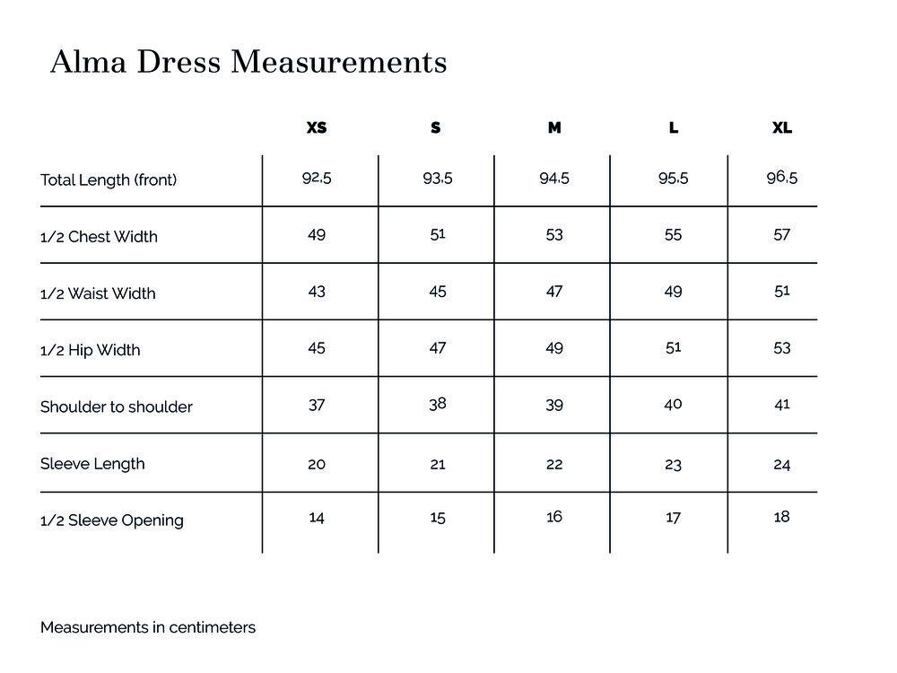 Alma Dress Measurements