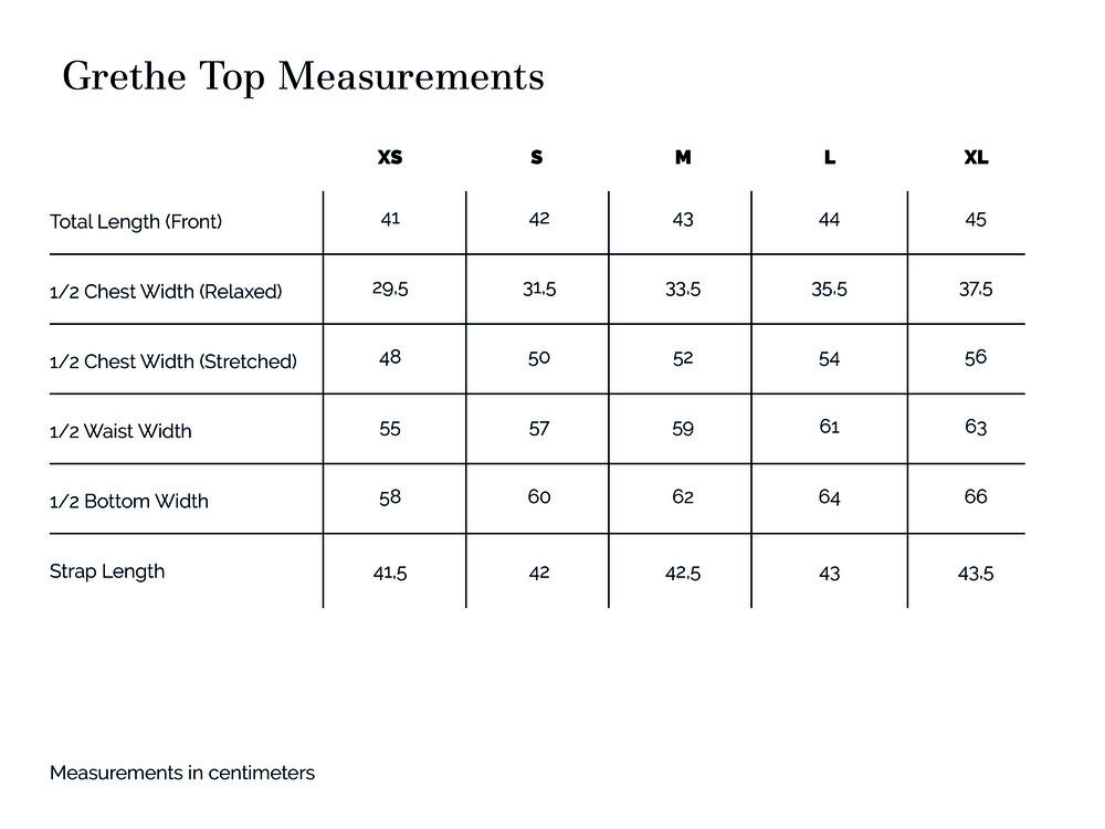 Grethe Top Measurements