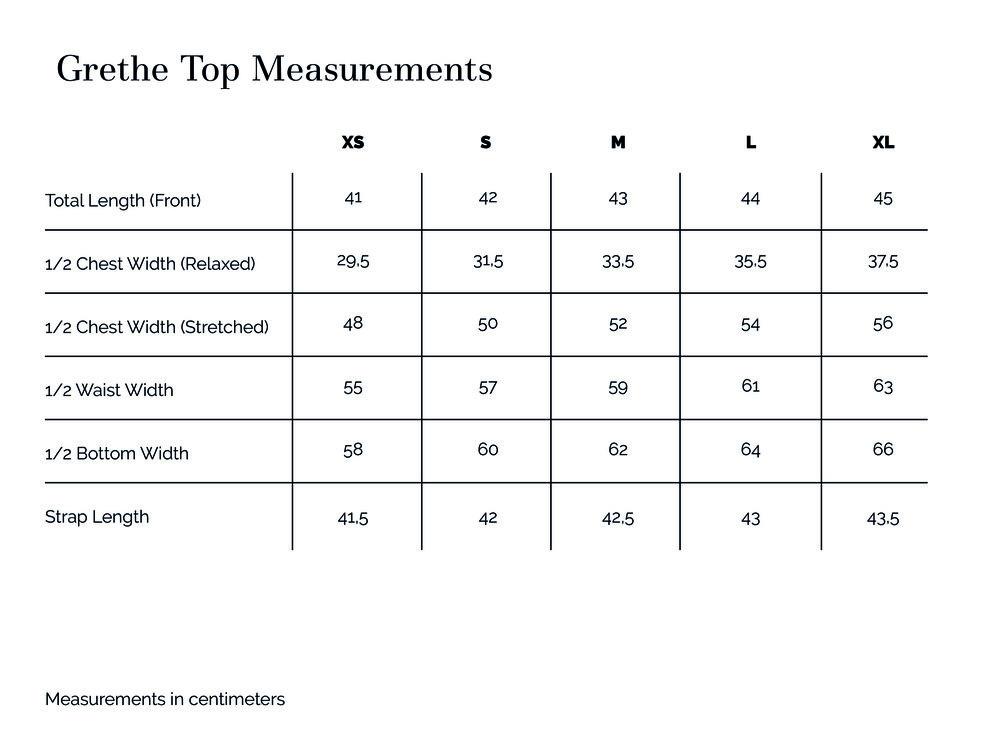 Grethe Top Measurements