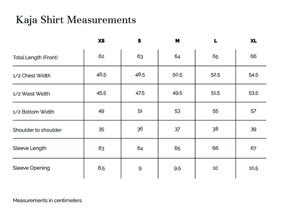 Kaja Shirt Measurements