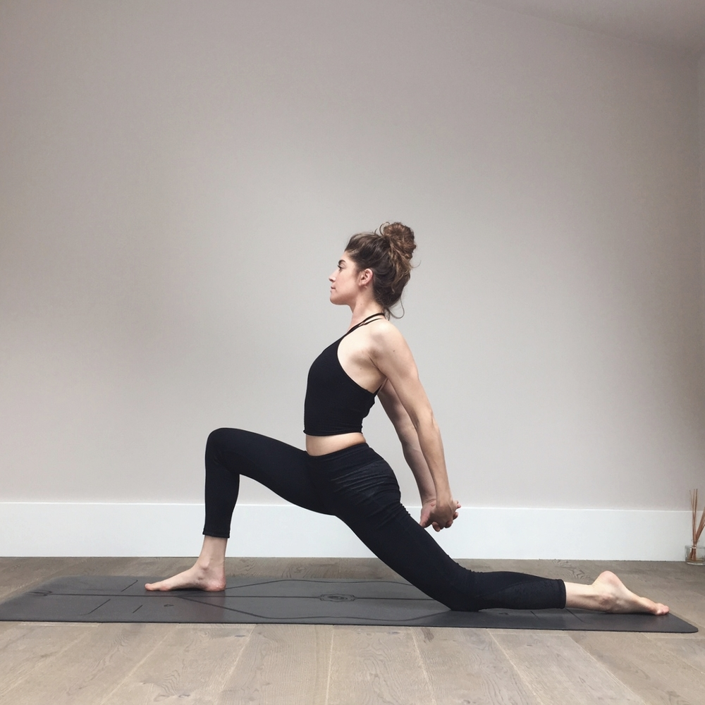 Low Lunge  (Anjaneyasana) : interlace the fingers behind the back and draw the shoulders blades down your back away from the ears. Draw the hands towards the ground and away from the body.