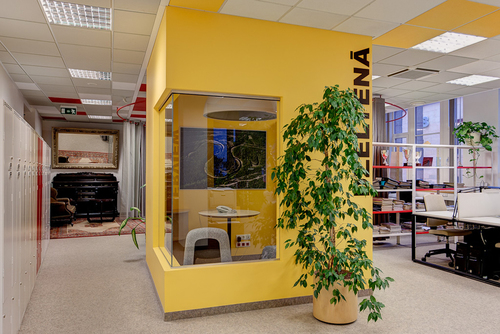 Office is located in two-stories in historical building in Riga Oldcity. During years the premises has got standard planning, suspended ceiling plates and  unfunctional solutions. The period for constructing and arranging the 1175m2 office was 1.5 month, so we used solutions which were possible to accomplish in short term and in low budget. The basic task while making functional planning was to avoid small, dark, rooms and long, gloomy corridors. Planning of administration floor is formed functionally and advised, using exact references about inner communication between employees and specific work features. Part of existing room partitioning wall-constructions are remained, but remad more pleasant with plastering the panels with specially combined wallpapers and fabrics in black & white, graphical stylistics.  Black, white, corporate fucsia-pink and yellow colours are used as accents in 3rd floor (editorials), where the open-planning is compositionally made of 3 big diameter circles of curtain rail and 2 free-standing interview boxes. Working spaces are additionally zoned and seperated with coloured metal storehouse shelves, which are the symbol of production. In 3rd floor (editorials) is kept on using bright colours, on 4th floor (administration) black& white theme is continued. Lavatories are made more cosy using tiles accordingly to concept of each floor, adding plentiful, splendid wallpapers on administration floor and stylish, modern fragments on editorial floor. Many zones in office are accentuated using combinations of modern and antique furniture and this makes particular atmosphere. The chairman of the board of editorial Aija Simsone promoted the result with active participation in the process.