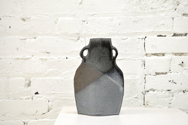 Flat Double Handled Blue And Brown Vase By Alison Owen Greenpoint Hill