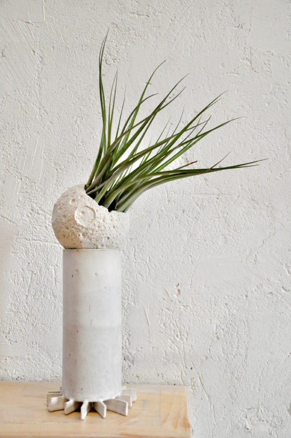 "MM003  Ceramic and tillandsia 20.5"" x 12"" x 5"" $600. Spray plant with water twice per week.  SOLD"