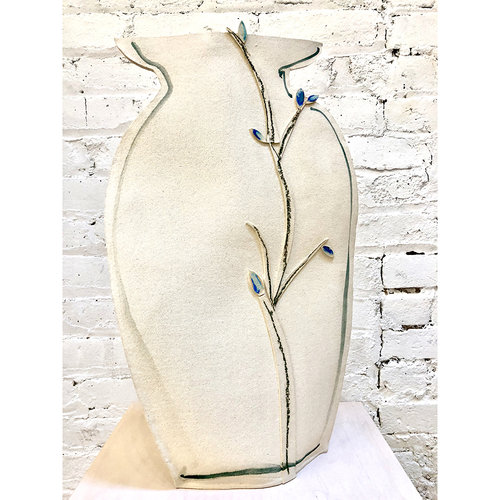 Tall Painted Porcelain Flat Vase With Blue And Black Vines By Alison