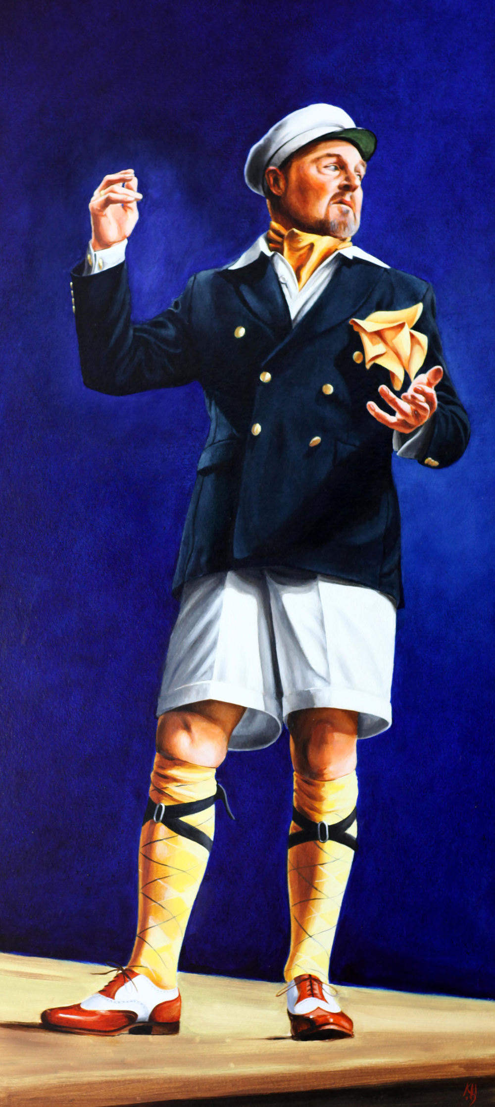 Derek Jacobi, Twelfth Night, Donmar West End, oil, 92 x 42.jpg