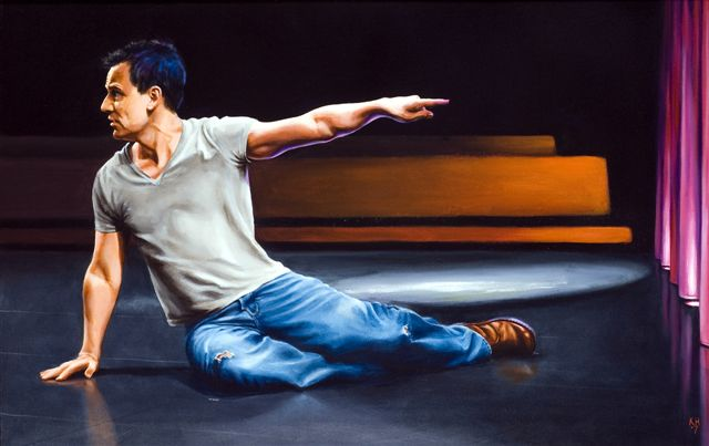 Michael Grandage, rehearsals, Don Juan in Soho, Donmar, oil, 39 x 61.jpg