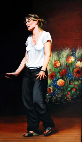 Thea Sharrock, Dir. Vogage Round  my Father, Donmar, oil, 94 x 54.8.jpg