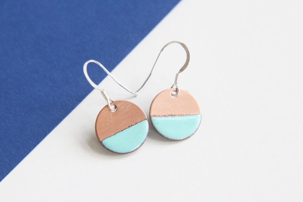 Copper and turquoise round enamel earrings by iamrachel.jpg