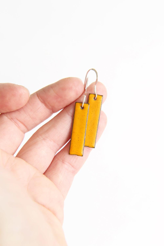 Bright yellow enamel rectangle earrings iamrachel.jpg