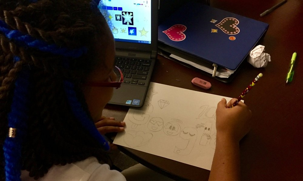 Students make Doodle 4 Google contest entries in Mr. Gaitaniella's class
