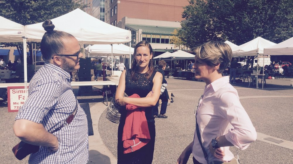 Tracey Whorton and Emily McMahon meet with Allard van Hoorn for Mix-N-Match in Market Square