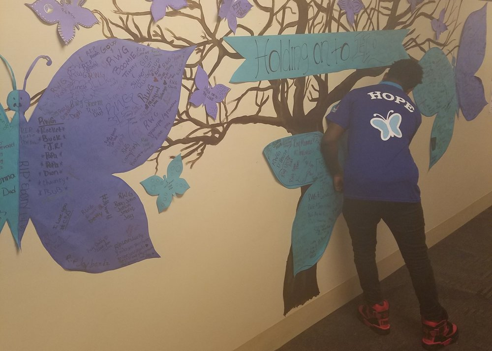 blue butterfly hope wall