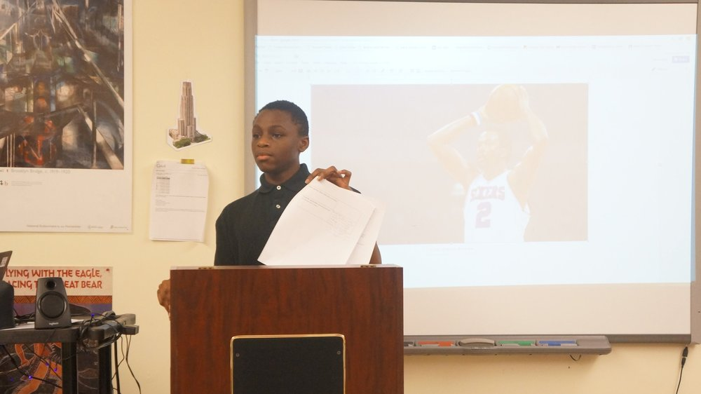 middle school presentation on Moses Malone at Urban Pathways 6-12