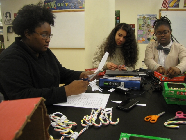 students prepare educational candy canes in No Labels