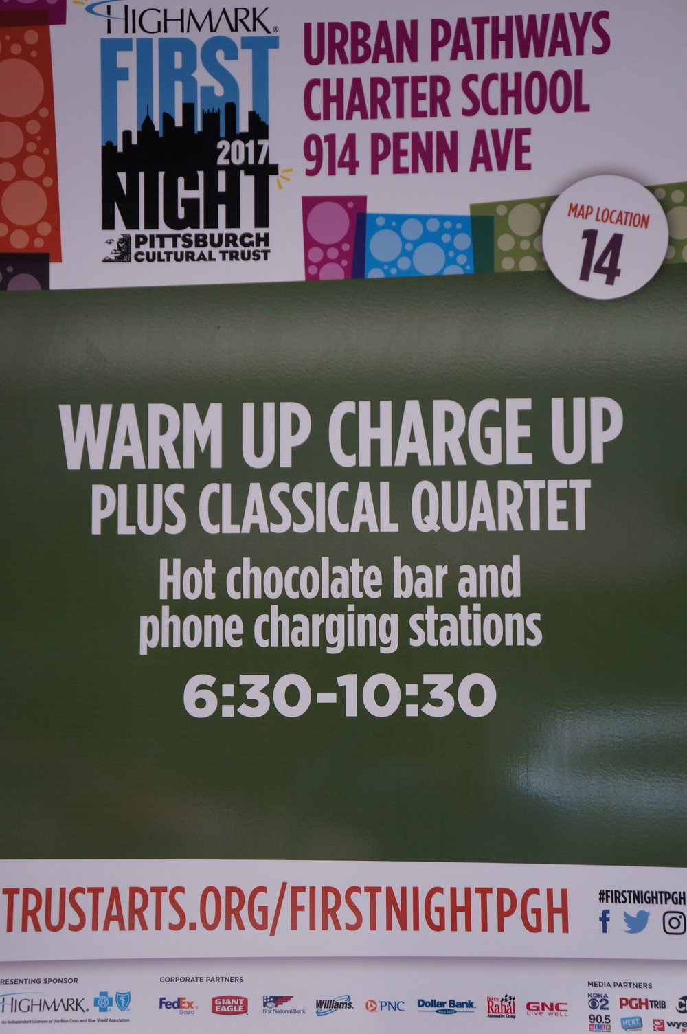 Warm Up Charge Up plus Classical Quartet  Hot Chocolate Bar and Phone Charging Stations  6:30-10:00