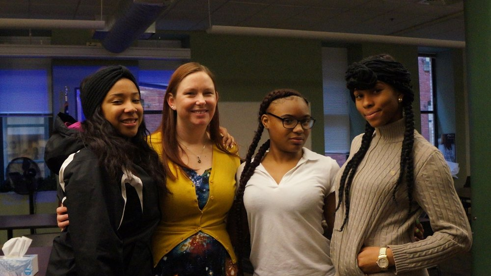 Poetry Out Loud Competitors Tamia Campbell, Kierra Mitchell, and Kylah Mitchell with organizer Nicole Homich