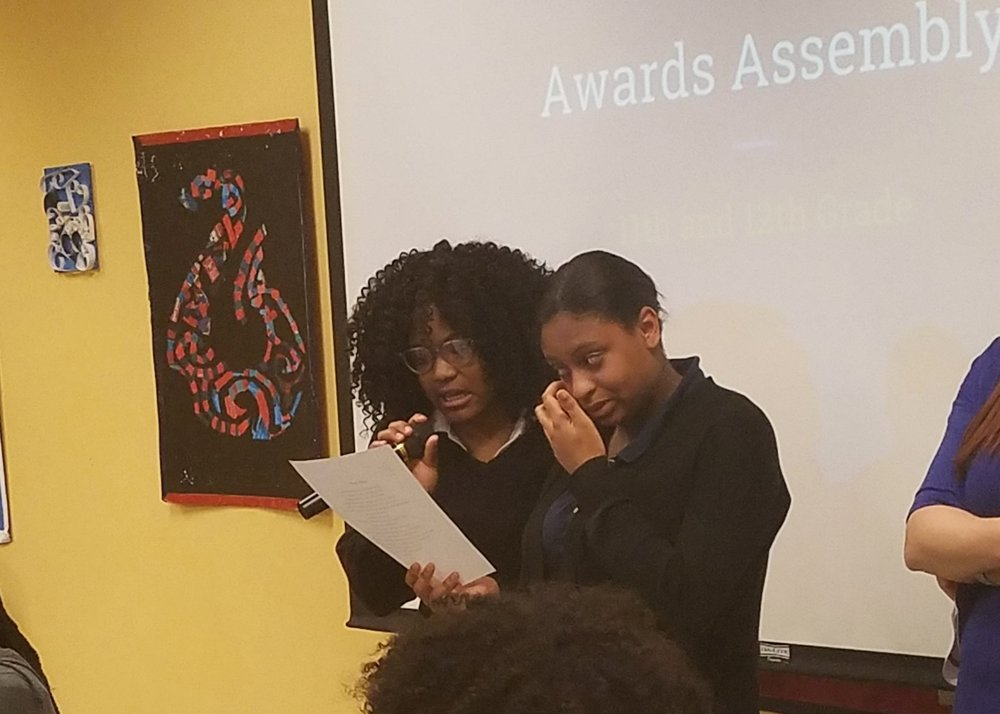 Kierra collaborates with Anna on performing Anna's poem.